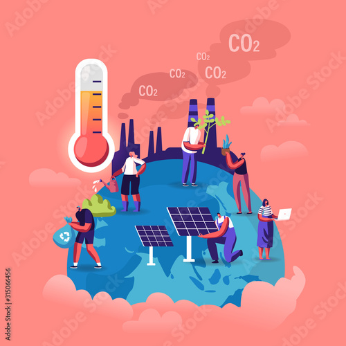 Fototapeta Global Warming Concept. Tiny Characters Care of Plants on Earth, Factory Pipes Emitting Smoke, Thermometer Show High Temperature. Dust Air Pollution, Co2 Gas Emission Cartoon Flat Vector Illustration obraz