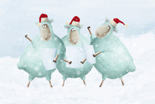 Traditional Christmas Carols. Cartoon Sheeps Sing On Snowfall. Cute Positive Illustration About Snow, Joy And Winter