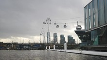 Wide Shot Of Cable Cars Crossi...