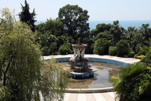 Fountain In The Park With Sea...