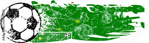 grunge soccer o. football design template, vector with free copy space