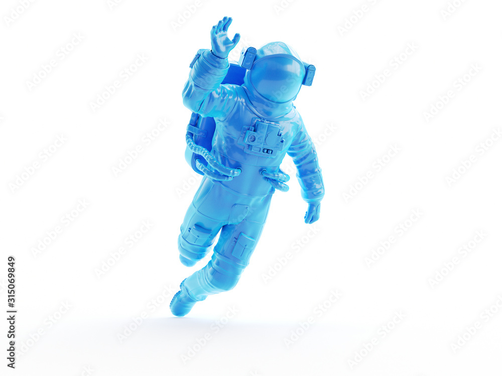 Fototapeta 3d rendered object illustration of an abstract blue astronaut