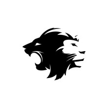 Logo Of Two Different Lion Head Vector Characters