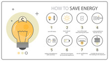 How To Save Energy Instruction, Ecology Infographics. Idea Of Reducing Energy