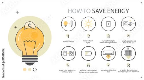 Obraz na plátně How to save energy instruction, ecology infographics