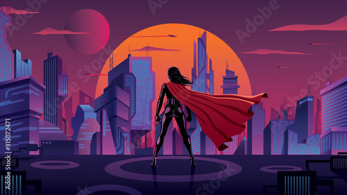 Fotografie, Obraz Superheroine in Futuristic City