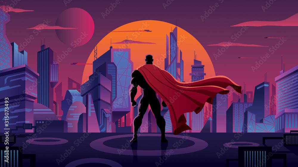 Fototapeta Superhero in Futuristic City