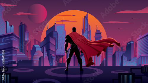 Superhero in Futuristic City