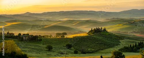 Obraz Tuscany - Landscape panorama, hills and meadow, Toscana - Italy - fototapety do salonu