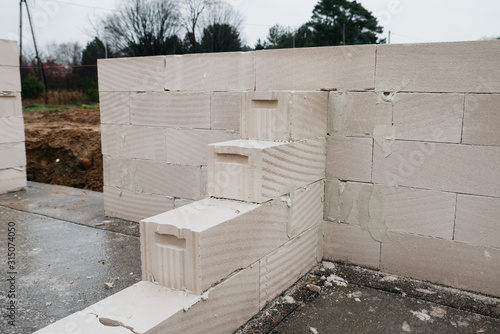 building walls of aerated concrete Canvas Print