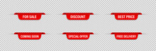 Set Of Vector Red Ribbons Tags...