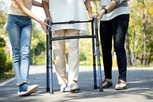 Asian Senior Woman Use Walking...