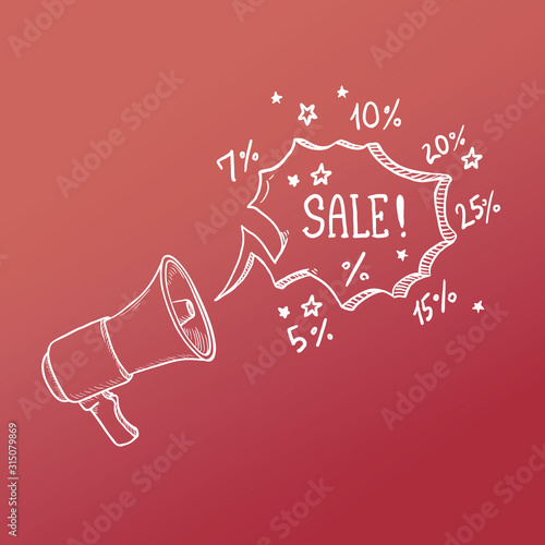 Photo Vector Sketch Loudspeaker with Text Bubble Sale.