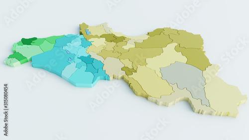 Maps of Syria, Iraq and Iran colored- 3D Rendering Billede på lærred