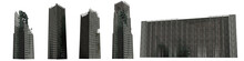 Set Of Ruined Skyscrapers, Tall Post Apocalyptic Buildings Isolated On White Background