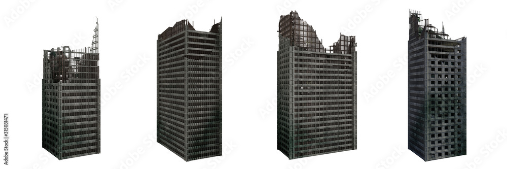 Fototapeta set of ruined skyscrapers, tall post apocalyptic buildings isolated on white background