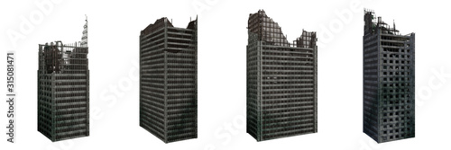 Fototapeta set of ruined skyscrapers, tall post apocalyptic buildings isolated on white background obraz