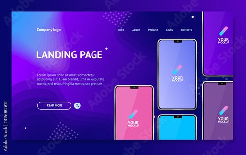 Fototapeta Mobile Phones Concept Card Landing Web Page Template. Vector obraz