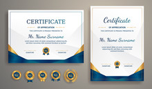 Blue And Gold Certificate Of A...