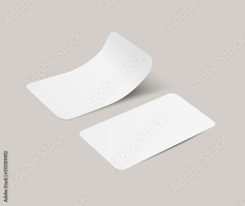 Obraz Vector white realistic paper adhesive stickers with curved corner in perspective on transparent background. - fototapety do salonu