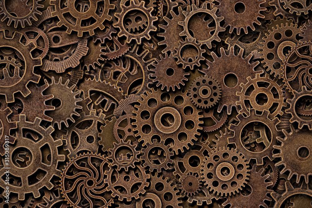 Top view of vintage metal brass gears