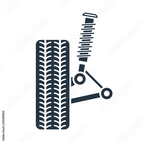 Photo Car suspension service, Wheel alignment icon - axle and wheel absorber