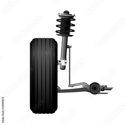Photo Wheel alignment icon - car suspension service, shock absorber, axle and wheel