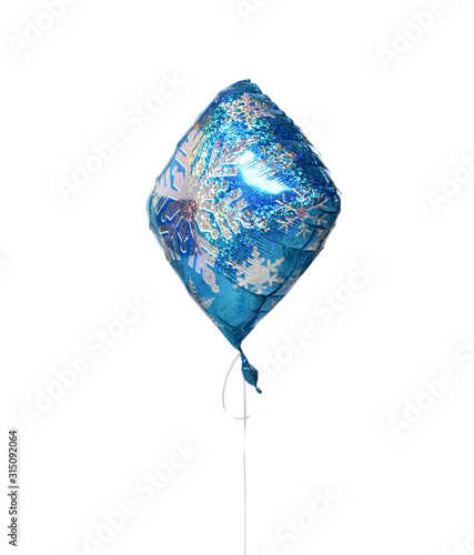 Blue Snowflake balloon object for birthday or new year Christmas celebration par Wallpaper Mural