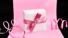 Present Box With Pink Ribbon O...