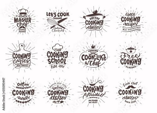 Fototapeta Let's cook. Set of vintage retro handmade badges, labels and logo elements, symbols, phrases, slogans for cooking school, cooking studio obraz