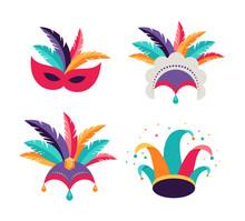 Carnival, Party, Purim Background. Masks, Clown Hat, Dancer Headdress