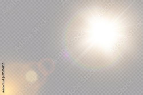 Valokuvatapetti Vector transparent sunlight special lens flare light effect