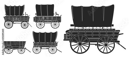 Fotografía Wild west wagon isolated black icon