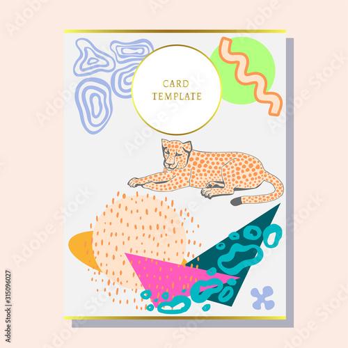 Fotografie, Obraz greeting invitation card template design with exotic wild animals