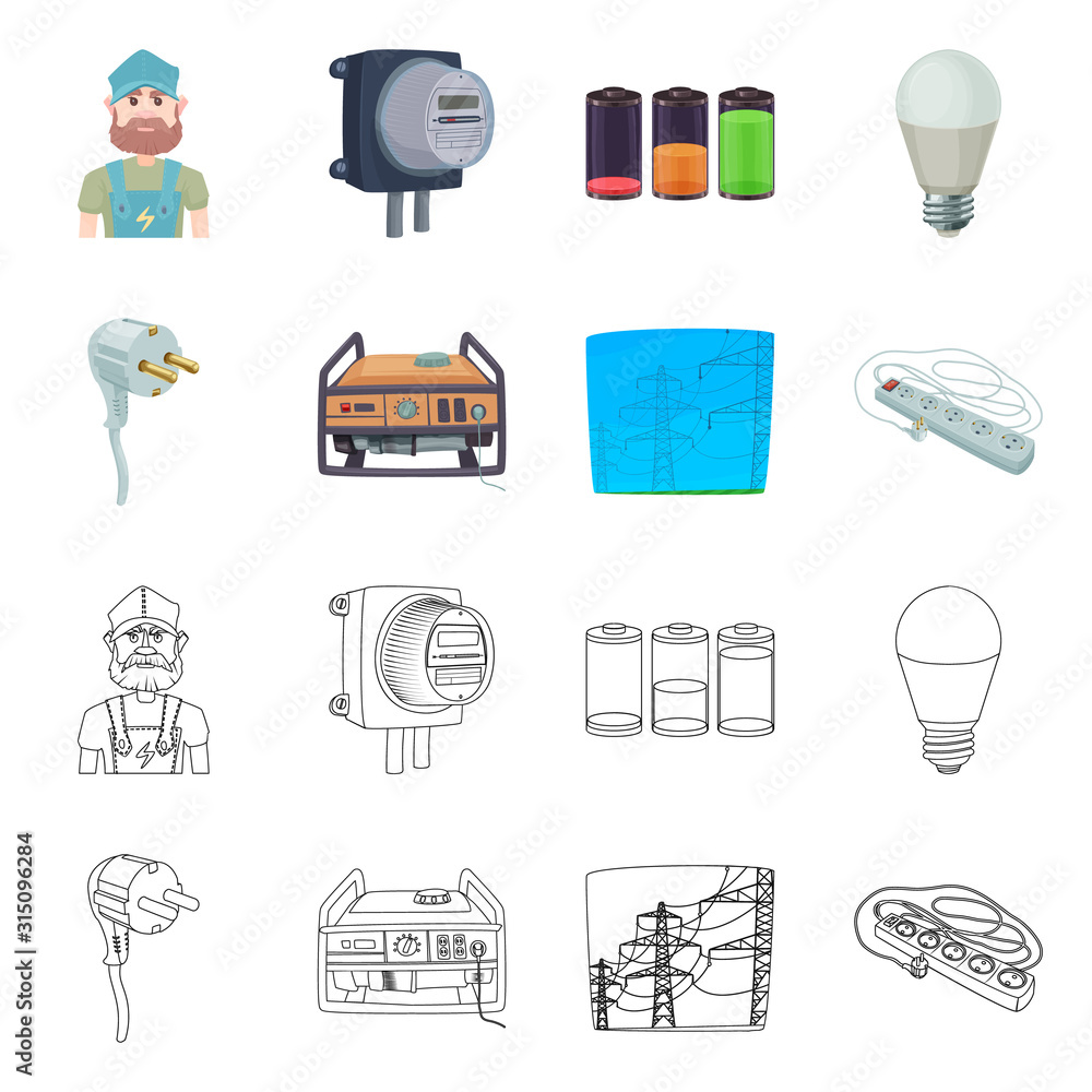 Fotografie, Obraz Isolated object of electricity and electric symbol
