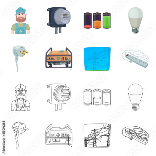 Fototapeta Isolated object of electricity and electric symbol