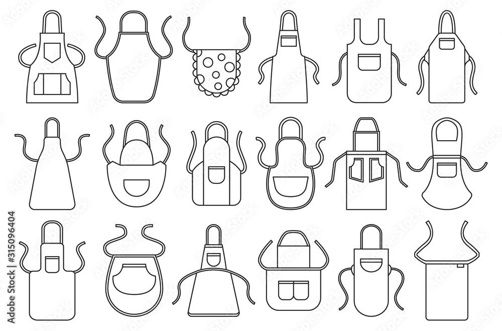 Fototapeta Kitchen apron vector line icon set. Isolated line set cook uniform.Vector illustration icon kitchen apron on white background .