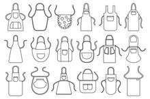Kitchen Apron Vector Line Icon Set. Isolated Line Set Cook Uniform.Vector Illustration Icon Kitchen Apron On White Background .