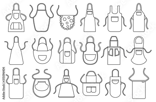 Cuadros en Lienzo Kitchen apron vector line icon set