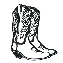 Cowboy Boots And Hat. Vector G...