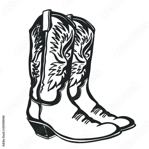 Fototapeta Cowboy boots and hat. Vector graphic hand drawn illustration isolated on white for print or design obraz