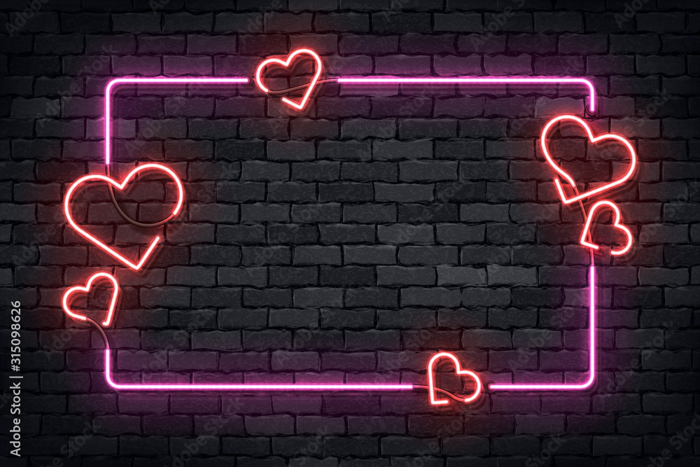 Fototapeta Vector realistic isolated neon sign of frame with hearts for template decoration and layout covering on the wall background. Concept of Happy Valentines Day.
