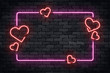 Vector realistic isolated neon sign of frame with hearts for template decoration and layout covering on the wall background. Concept of Happy Valentines Day.