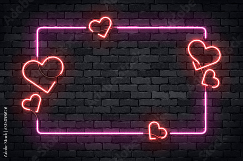 Vector realistic isolated neon sign of frame with hearts for template decoration and layout covering on the wall background. Concept of Happy Valentines Day. - 315098626