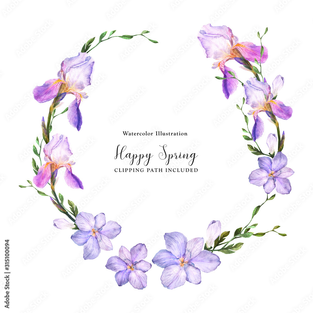 Fototapeta Decorative watercolor wreath with iris and freesia flowers on a white background, watercolor with clipping path