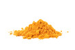 canvas print picture - Fragrant turmeric powder heap isolated on white background