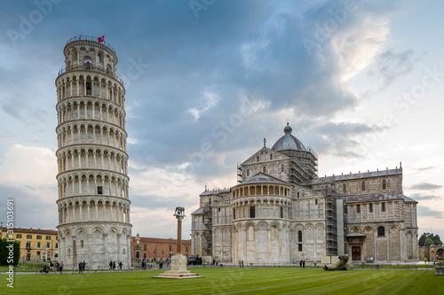 Piazza del Duomo and Pisa tower at susnet. Toscano, Italy. Fototapeta