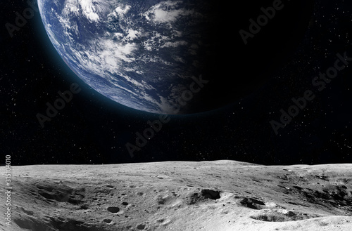 Moon surface and Earth. Canvas Print