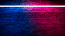 Old Brick Wall With Neon Light...
