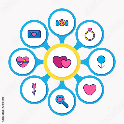Vector illustration of 9 amour icons colored line Wallpaper Mural
